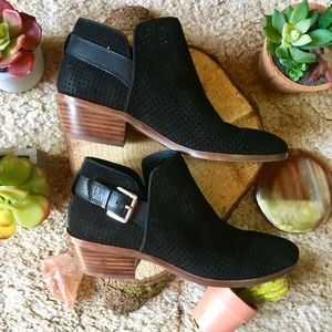 {Sam Edelman} Classic Black Buckle Wood Booties, 5